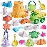 T.G.Y Sandspielzeug Set Für Kinder, 23 Stück umweltfreundliches Strand Sandspielzeug mit LKW, Eimer, Gießkanne, Schaufeln, Tierschloss-Sandformen, Sommer-Outdoor-Spielzeug für Kleinkinder Geschenk