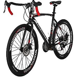 Eurobike Bikes EUXC550 21 Speed Road Bike 54 Cm Steel Frame 700C Regular Spoke Wheel Dual Disc Brake Road Bicycle Black White