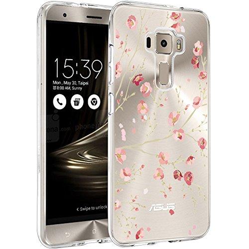 WenJie Hülle für Asus Zenfone 3 ZE520KL Cover, Rosa Blumen Silikon Handyhülle Schutzhülle für Asus Zenfone 3 ZE520KL 5.2