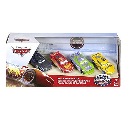 Disney Pixar Cars FTX79 Fireball Beach Racing Vehicles Pack of 4 (H.J. Hollis, Jackson Storm, Lightning McQueen, Dinoco Cruz Ramirez)
