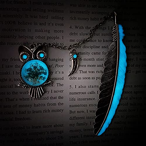 Luminous Bookmarks,Metal Feather Book Marks with Gift Box, Father's Day Gift,Ideal Gift for Reader, Woman and Kids. (Silver Owl)
