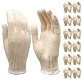 1. Safety gloves white cotton bbq heat liners grilling work glove men cooking women knitted cotton Pack of 12