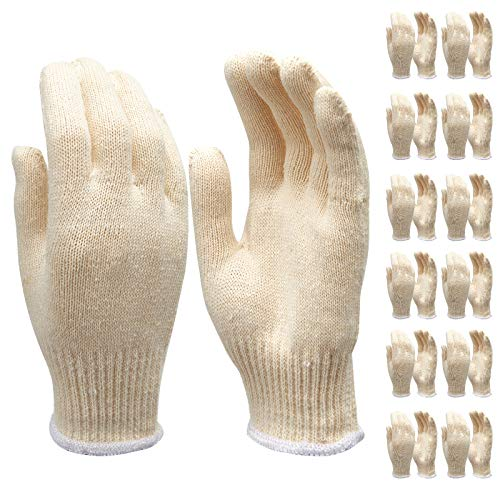 Best glove liners - Safety gloves white cotton bbq heat liners grilling work glove men cooking women knitted cotton Pack of 12