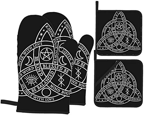 Good Witch Celtic Knot Oven Mitts and Pot Holders Set 4PCS Kitchen Tools Heat Resistant Kitchen Gloves for Cooking Baking BBQ