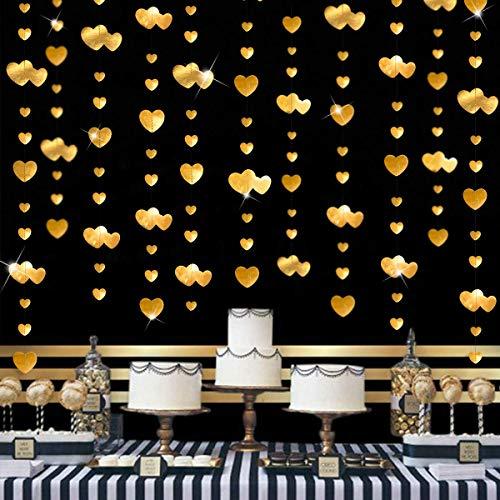 Pink Blume 52Ft Gold Herz Partyset Doppelseitig Metallisches Papier Banner Streamer für Verlobung Jahrestag Hochzeit Valentinstag Brautparty Dekoration