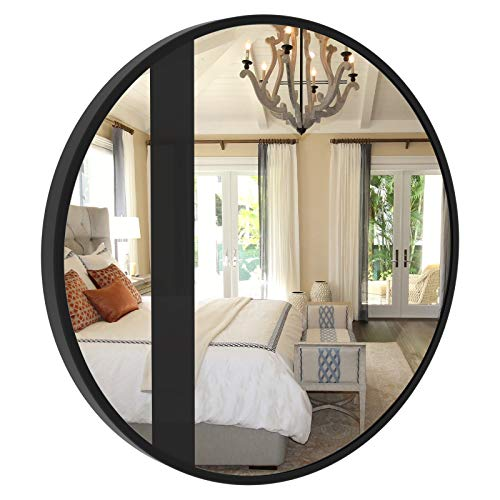CLSYO Round Wall Mirror| Metal Frame Mirror 16-inch Mirror Wall Decor for Entryways, Living Rooms, Bathroom, Washrooms and More (Black)