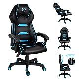 Gaming-Stuhl, Computerstuhl mit gepolsterter Armlehne, ergonomisch, Chefsessel, hohe Rückenlehne, Drehstuhl mit Kopfstütze und Lendenwirbelstütze