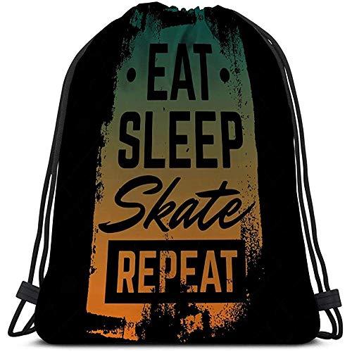 BOUIA Lichtgewicht Gym Reizen Trekkoord Tas citaat typografische eten slaap skate herhalen skateboard minimalistische stijl grunge vintage lettertypen sjabloon