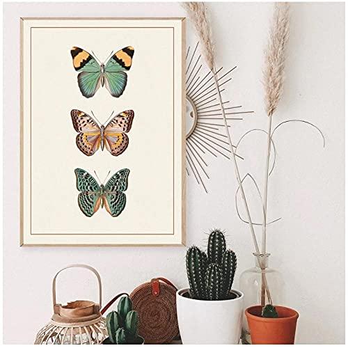 LIUYUEKAI Mariposa victoriana beige Vintage Insect EducationWall Imagen de arte Pintura de lienzo Póster de impresión para la habitación de los niños Decoración del hogar-40x60cm Sin marco