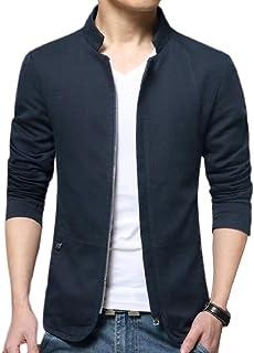 omniscient Men's Casual Stand Collar Slim Long Sleeve Bomber Jacket Coats