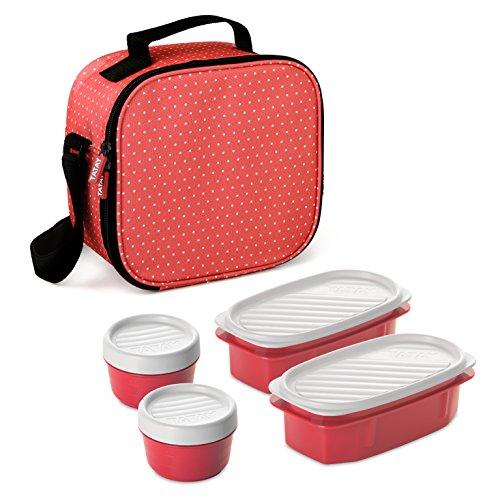Tatay Urban Food Casual, Bolsa Térmica Porta Alimentos, 3L de Capacidad, con 4 Tuppers Herméticas (2 x 0.5L, 2 x 0.2L), Color Rojo con Puntos. Medidas 22.5 x 10 x 22 cm