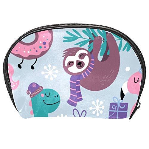 Bennigiry, borsa per cosmetici natalizia, con animali e bradipo di llama, fenicottero, dinosauro e unicorno, kit da viaggio con cerniera multifunzione
