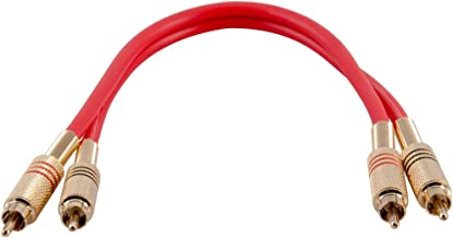 Seismic Audio Premium Red 1 Foot Dual RCA Male Audio Patch Cable (SAPRCA1-RD)