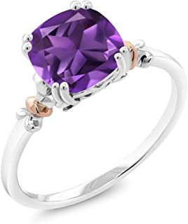 Gem Stone King 925 Sterling Silver and 10K Rose Gold Cushion Purple Amethyst Gemstone Birthstone Women's Ring 2.05 cttw (Available 5,6,7,8,9)