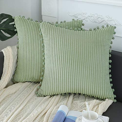 sykting Sage Green Pillow Covers 18x18 inch Soft Striped Boho Farmhouse Decorative Throw Pillow product image