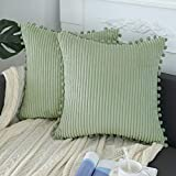 sykting Sage Green Pillow Covers 18x18 inch Soft Striped Boho Farmhouse Decorative Throw Pillow Covers with Pom Poms for Couch Sofa Bed Chair Outdoor Pack of 2