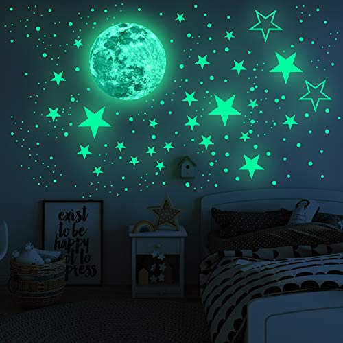 Glow in The Dark Stickers435pcs, Luminous Moon Dots Stars Wall Ceiling Decal Murals for Nursery Baby Girl Boy Kids Or Relaxing Ambience for Adults Home Bedroom Living Room Decoration (Green, 435pcs)