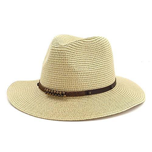 XYAL-Hats Xingyue vleugelhoed en cowboy hoed Fedora hoed met brede rand van rietje, voor heren, zomer, decoratief koord van leer, fijne klinknagels