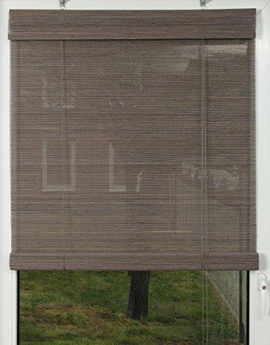 Der Jalousienladen EFIXS Premium Bambusrollo/Rollup aus Rundstäbchen - 110 x 160 cm (Breite x Höhe) – Farbe: grau – weitere Größen wählbar