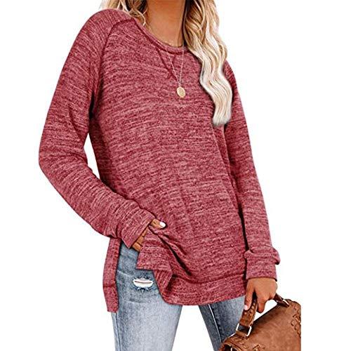 QSDM Camisetas y Blusas para Mujer Sudaderas de Mujer Tops Blusa de Mujer con Escote Cruzado, Cuello Redondo Suelto, Manga Larga, suéter, Camiseta-Vino Tinto_XXL