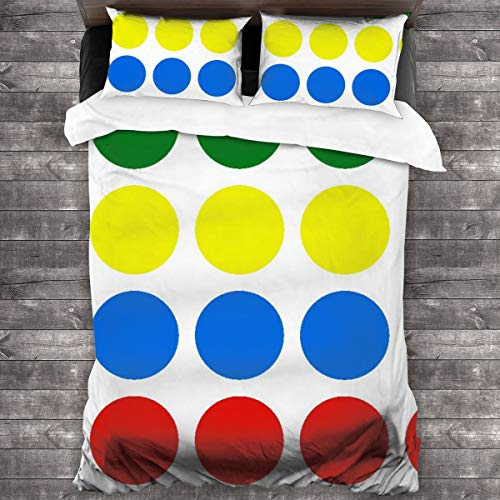 AIMILUX Funda Edredón,Twister Círculos de Colores geométricos,Ropa de Cama Funda Nórdica,1(240x260cm)+2(50x80cm)