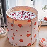 KELIXU Portable Bathtub, Foldable Soaking Bathing Tub for Freestanding Shower Stall, Thickened Thermal Foam to Keep Temperature for Spa Hot Ice bath, Pink