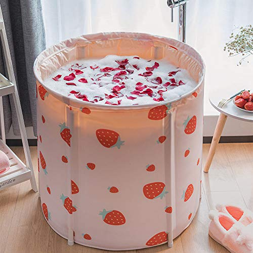 KELIXU Portable Bathtub, Foldable Soaking Bath Tub for Shower Stall, Thickening with Thermal Foam to Keep Temperature, Easy to Install,No inflate,Pink