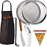 Tiger Chef Pizza Making Kit 5 Piece Pizza Pro Set Pizza Pan, Stone, Wheel, Server, Sauce Ladle