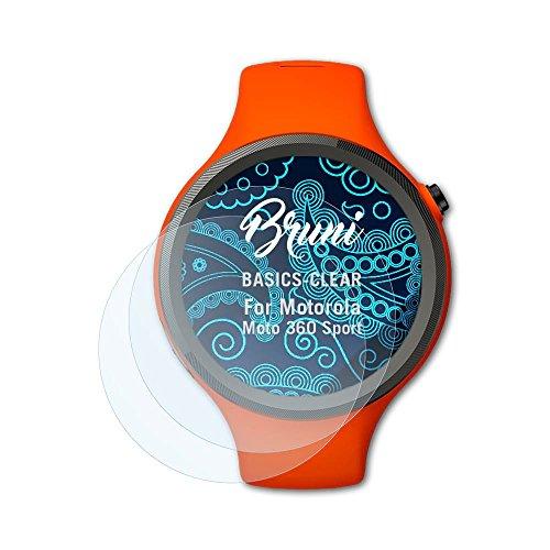 Bruni Schutzfolie kompatibel mit Motorola Moto 360 Sport Folie, glasklare Bildschirmschutzfolie (2X)