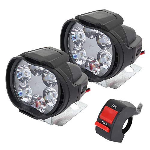 2 Pezzi Faretti per Moto Impermeabile Universale 6 LED Faro del Motociclo...