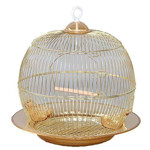 ZRZJBX PapageienkäFig/Runder VogelkäFig/KanarienkäFig/MetallvogelkäFig ÜBerzug Gold, Bequem Und Praktisch, SchöNes Aussehen,Golda