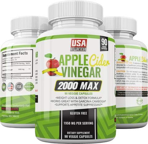 Apple Cider Vinegar Capsules - 1,950mg - 100% Pure Raw Organic Veggie Caps ACV for Women & Men