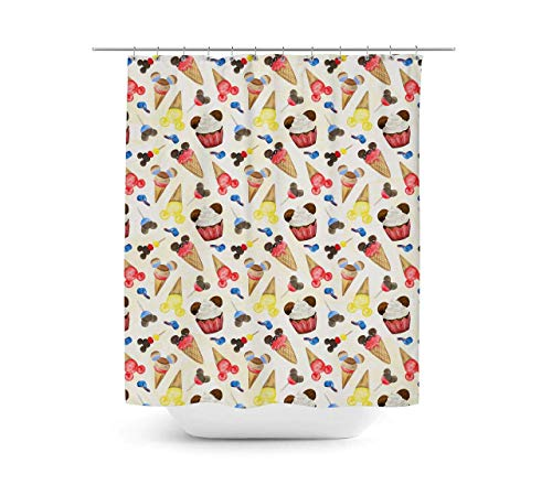 Rainbow Rules Shower Curtain - Mouse Ears Snacks in Primary Color Watercolor