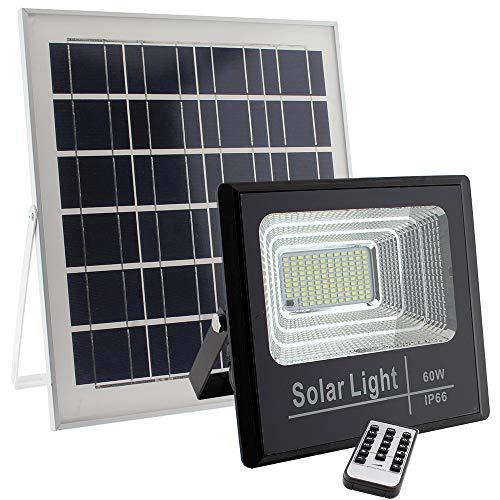 Foco Proyector LED SOLAR exterior DIGIT 60W, Blanco frío, Regulable con Mando a Distancia. Sensor de luminosidad, con menos de 50Lux se enciende automáticamente