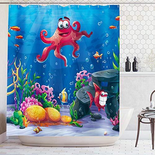 AMBZEK Cartoon Octopus Kid Shower Curtain Ocean Sea Underwater World Fish Seaweed Boy Girl Artwork Cloth Fabric Bathroom Decor Set with 12 Pack Hooks 60x71 Inch, Blue Red