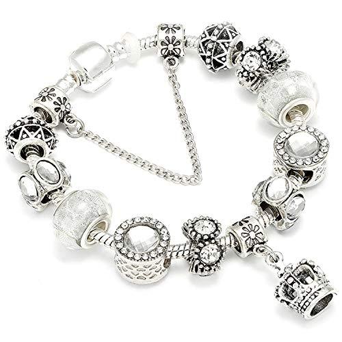 Pulsera Brazalete, Joyeria Regalo, Crown Pendant Charm Bracelets Female New European Style Enamel Beads Fit Brand Bracelet For Women Jewelry Gift AE240 19cm