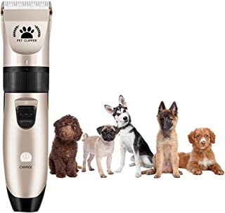 Lazapa Dog Hair Trimmer Cordless Hair Clipper Rechargeable Full Body Nose Hair Clipper for Dog, Hair Clippers, Detail Shaver, No Noise (Gold)