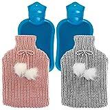 2 Pack Premium Wärmflaschen, 2 Liter - mit Weich Warmen Bezug (Rosa & Grau), Abnehmbar & Waschbar - Keine Leckagen, Hochwertiger Stoff & Gummi, Tragbare Waermflaschen.