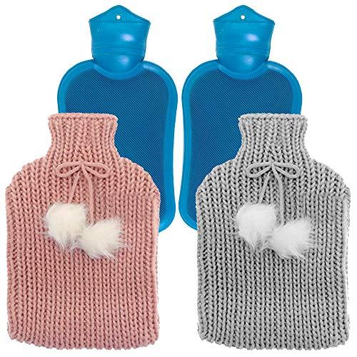 Set van 2 premium warmteflessen, 2 liter, met zachte warme bekleding (roze en grijs), afneembaar en wasbaar, geen lekkage, hoogwaardige stof en rubber, draagbare thermosflessen.
