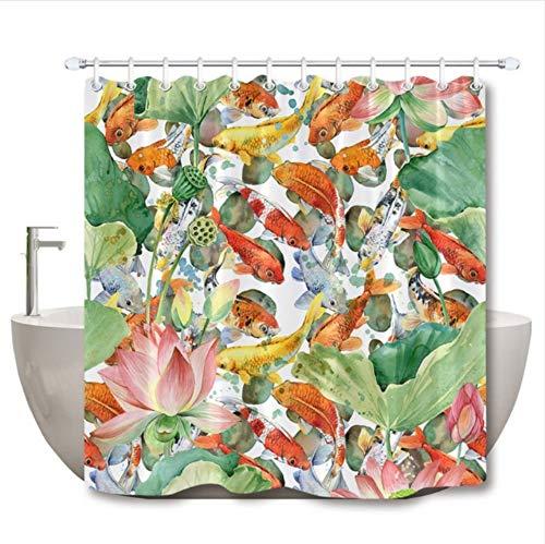 WIXIJAWR Karpfen Koi Und Blume Lotus Künstlerische Duschvorhänge Aquarell Teich Fisch Wasserdichtes Gewebe Für Badewanne Dekor (W) 130X(H) 180Cm