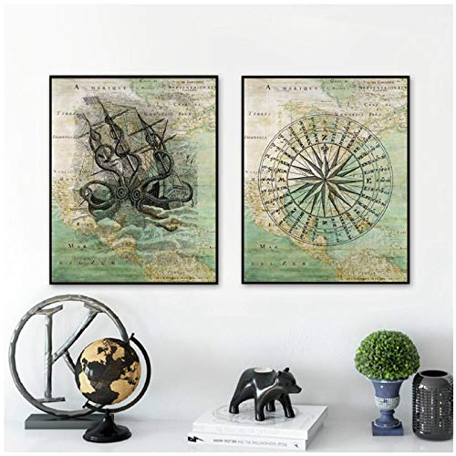MULMF Vintage Kaart van Noord-Amerika Jacht Zeilen Kompas & Octopus Zee Zee Zee Zeedijk Zeedijken Nautische Posters Canvas Schilderij Prints- 40X60Cmx2 Geen Frame