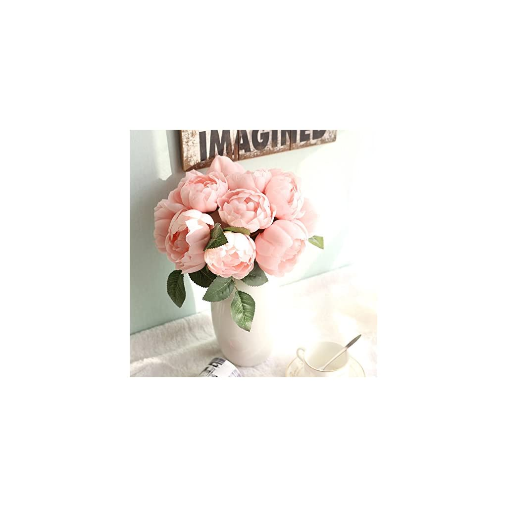 1 Bouquet 6 Heads Artificial Peony Silk Flower Leaf Home Wedding Party Decor PK