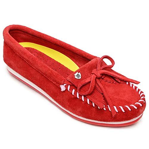 Minnetonka Womens Kilty Plus Moccasin, Red Suede, Size 6.5