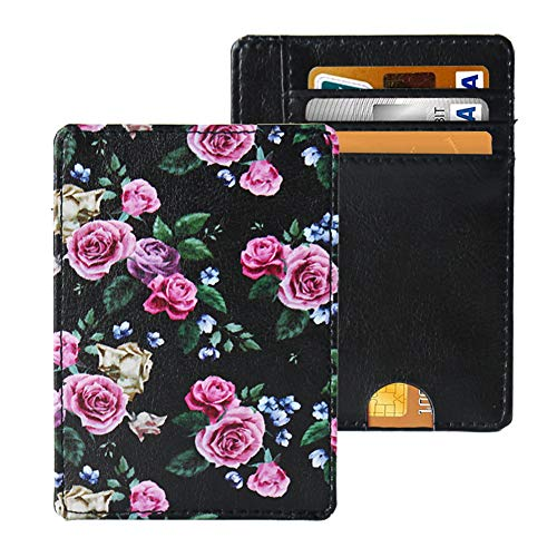 LIZIMANDU Slim Minimalist RFID Leather Wallets,Front Pocket Wallet,Credit Card Holder for Men & Women,Money Clip(1-Black Rose)
