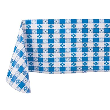Yourtablecloth Checkered Vinyl Tablecloth with Flannel Backing for Restaurants, Picnics, Bistros, Indoor and Outdoor Dining (Blue and White, 52X90 Rectangle/Oblong)