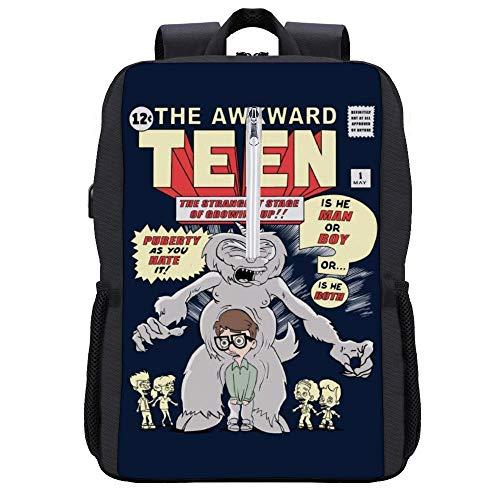 Big Mouth The Awkward Teenager Comic Rucksack Daypack Bookbag Laptop Schultasche mit USB-Ladeanschluss