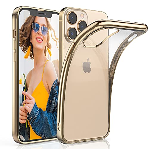 LOHASIC for iPhone 13 Pro Case Clear 6.1 inch, Slim Transparent Cover for iPhone 13 Pro Soft Flexible TPU Bumper Non-Slip Grip Shockproof Anti-Scratch Protective Cases with Gold Luster Edge - Gold