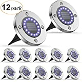 Solar Ground Lights 12 Pack, AGPTEK 16LED Solar Powered Disk Lights Outdoor Solar Garden Lights Waterproof Landscape Lighting for Yard Deck Lawn Patio Pathway Walkway(White with Glow Blue)