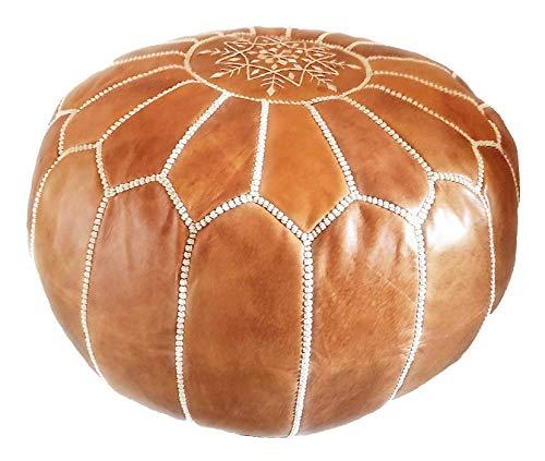 D.Art Group- Moroccan Pouf - Genuine Goatskin Leather - Bohemian Living Room Decor - Hassock &...