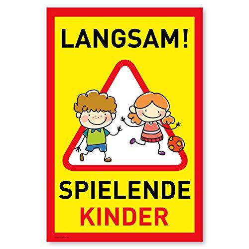 Achtung Kinder Schild (20x30 cm Kunststoff) - Warnschild spielende Kinder - Vorsicht Hier Spielen Kinder - Bitte langsam Fahren - 870211
